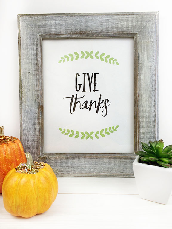 "Thanksgiving ""Give Thanks"" Free Printable"