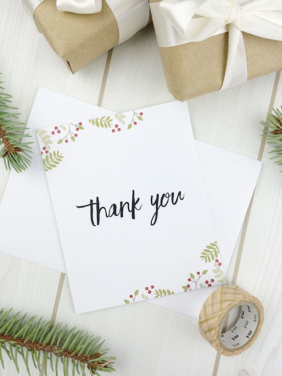Printable Christmas Thank You Card