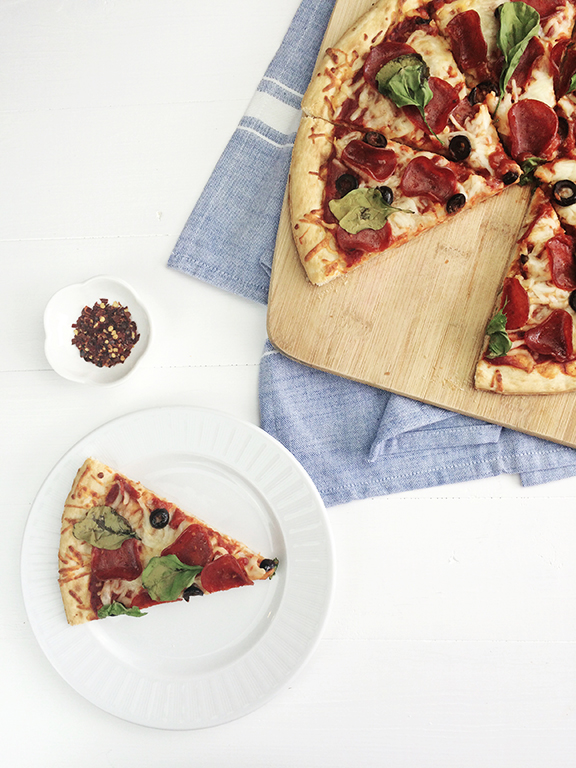 Homemade Pizza. Perfect for a stay-at-home date night!