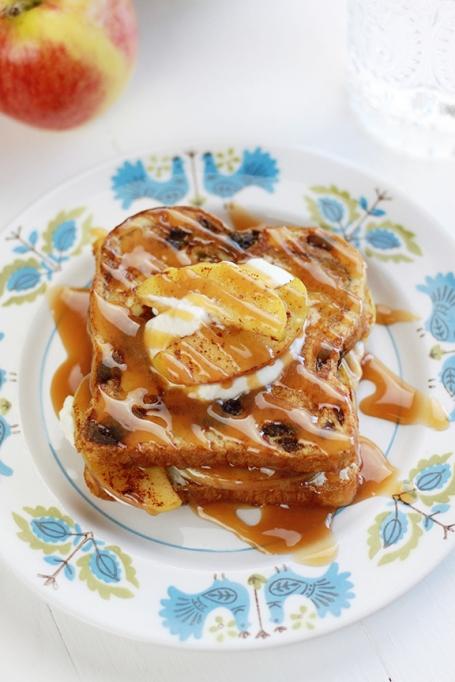 Cinnamon Raisin Stuffed French Toast with Maple Bourbon Whipped Cream