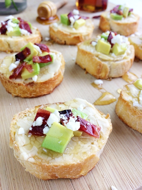 Avocado Bacon Crostini with Chili Infused Honey. Perfect appetizer for a dinner party!