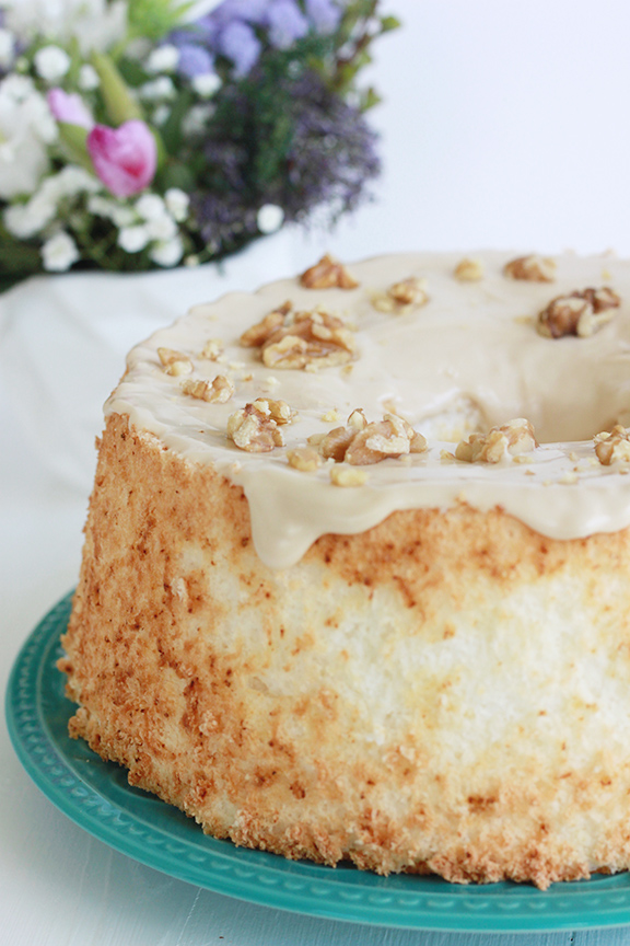 Maple Bourbon Walnut Angel Food Cake