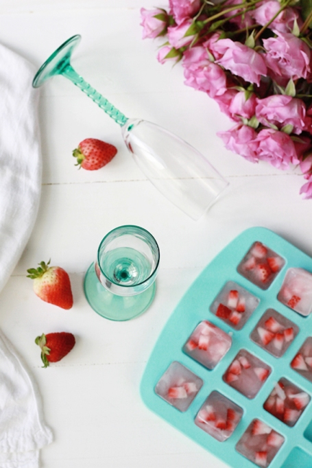 Strawberry Champagne Ice Cubes