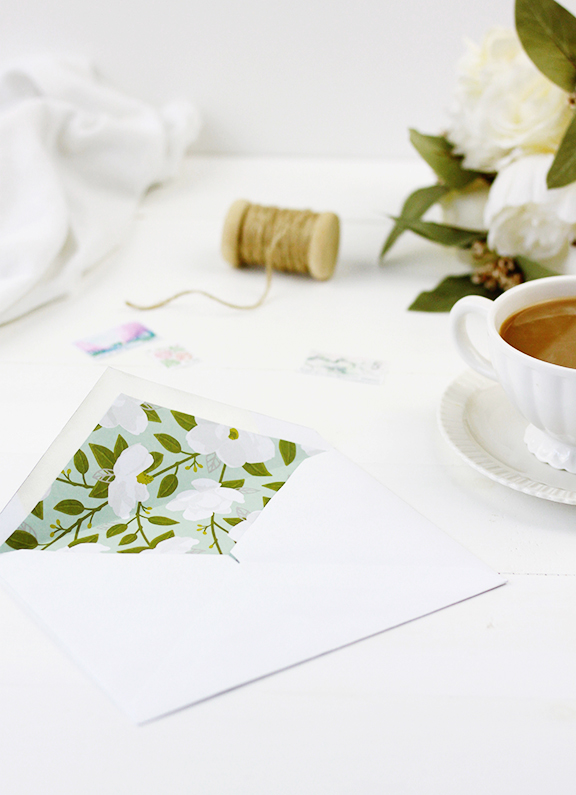 DIY Floral Envelope Liners | Wedding Envelope Liner Inspiration | Green and White Floral Pattern | Baby Shower Invitation Inspiration | Bridal Shower Invitation Inspiration | Envelope Inspiration
